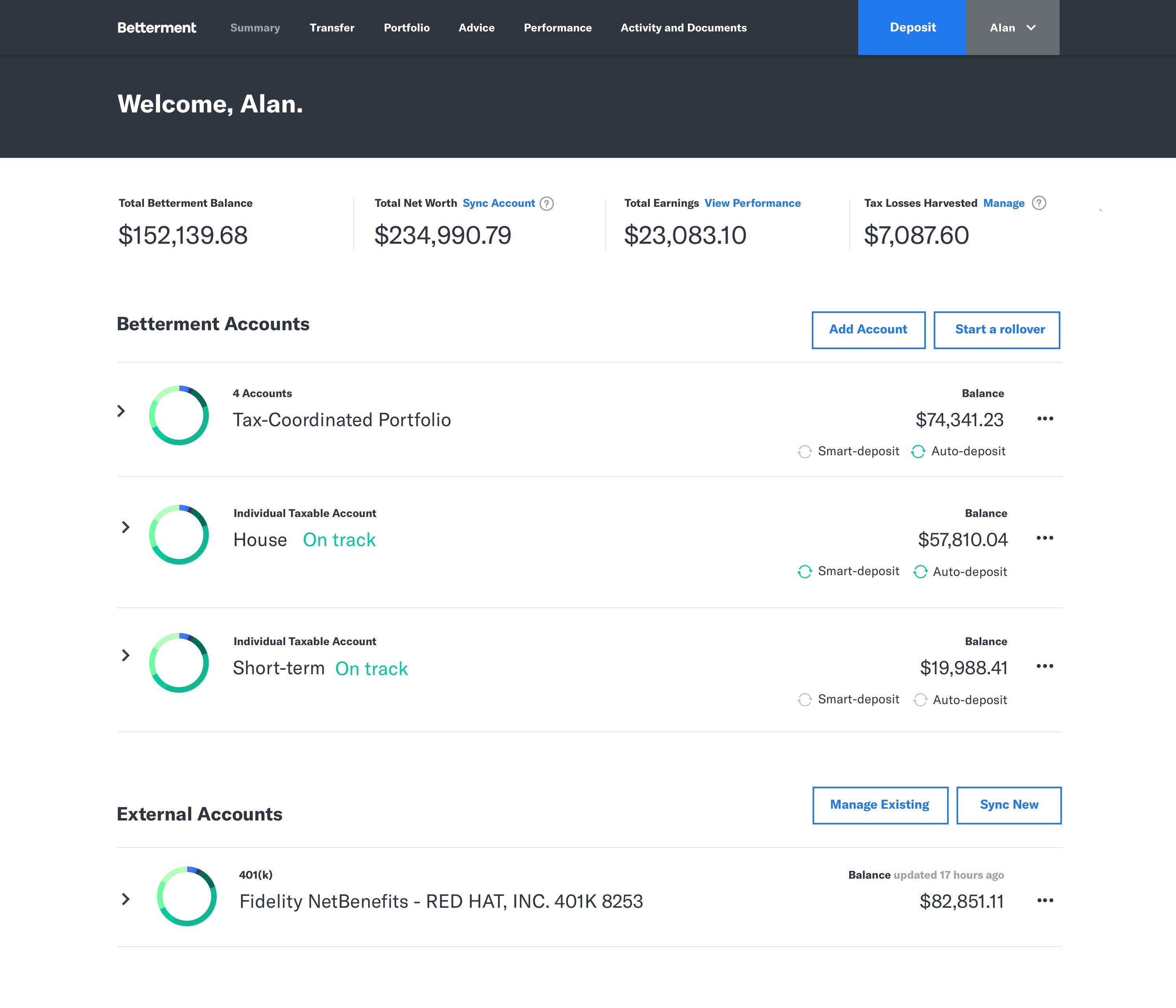 Betterment Summary Page Preview